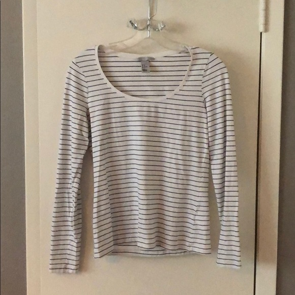20547f2c14d H&M Black and White Striped Long Sleeve Tee
